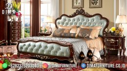 Best Seller Desain Tempat Tidur Mewah Jepara Natural Frame Color Combination Mint Green BT-1149