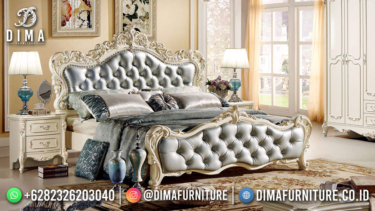 Best Seller Desain Tempat Tidur Mewah Jepara Navy Blue Honeymoon BT-1135