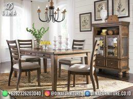 Classic Design Set Meja Makan Minimalis Jepara Wood Grain Natural Color BT-1193