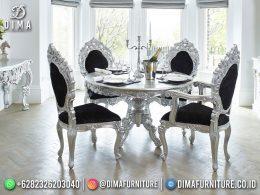 Desain Set Meja Makan Mewah Metallic Silver Color Engraving BT-1192