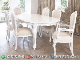 Full White Set Meja Makan Klasik Jepara 6 Kursi Best Furniture BT-1210