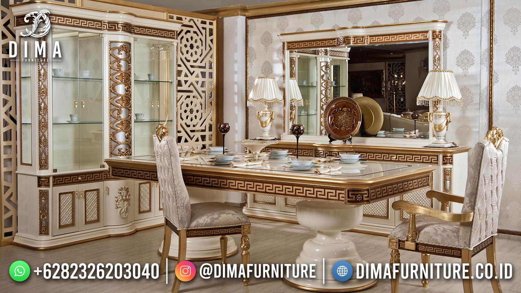 Great Design Set Meja Makan Mewah Jepara Luxury Gold Color Combination BT-1203