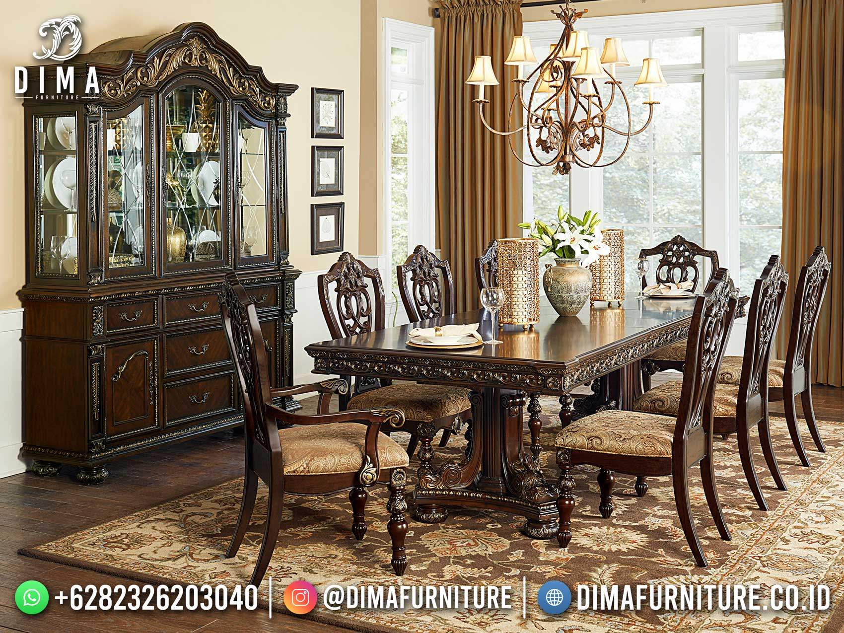 Greatest Set Meja Makan Klasik Jepara Dark Brown Carving Art BT-1199