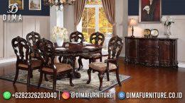 Harga Meja Makan Klasik Jepara 6 Kursi Natural Color Round Table BT-1201