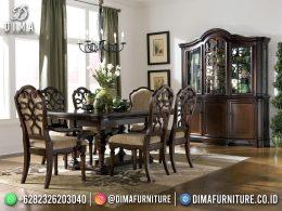 High Quality Set Meja Makan Klasik Jepara 6 Kursi Dark Brown Color BT-1206