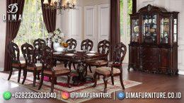 Model Set Meja Makan Klasik Jepara 8 Kursi Natural Color Rectangle Table BT-1202