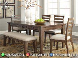 Simplifield Set Meja Makan Jati Minimalis Natural Rustic Style Furniture Jepara BT-1234