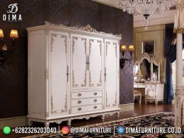 Vintage Style Lemari Pakaian Mewah White Silver Carving Combine Luxury Jepara BT-1230