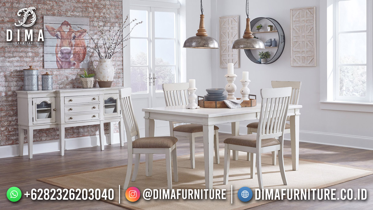 Duco White Meja Makan Minimalis Simple Modern Recomended BT-1252